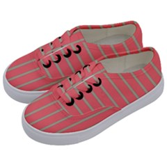 Line Red Grey Vertical Kids  Classic Low Top Sneakers by Mariart