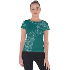 Leaf Green Blue Sexy Short Sleeve Sports Top  by Mariart