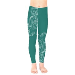 Leaf Green Blue Sexy Kids  Legging by Mariart