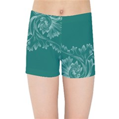 Leaf Green Blue Sexy Kids Sports Shorts