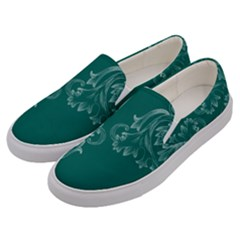 Leaf Green Blue Sexy Men s Canvas Slip Ons by Mariart