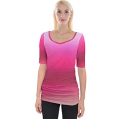 Line Pink Space Sexy Rainbow Wide Neckline Tee by Mariart