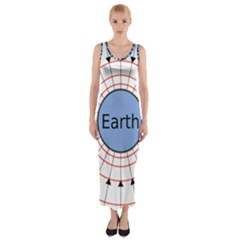 Magnetik Earth s Gravitational Line Triangle Fitted Maxi Dress