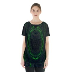 Green Foam Waves Polygon Animation Kaleida Motion Skirt Hem Sports Top