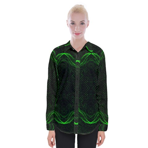Green Foam Waves Polygon Animation Kaleida Motion Womens Long Sleeve Shirt by Mariart