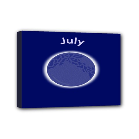 Moon July Blue Space Mini Canvas 7  X 5  by Mariart