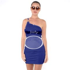 Moon July Blue Space One Soulder Bodycon Dress