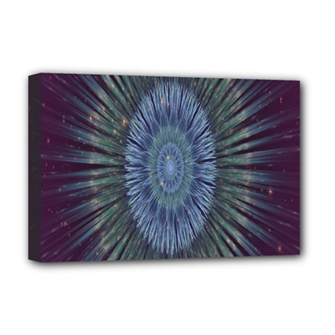 Peaceful Flower Formation Sparkling Space Deluxe Canvas 18  X 12   by Mariart