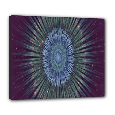 Peaceful Flower Formation Sparkling Space Deluxe Canvas 24  X 20   by Mariart