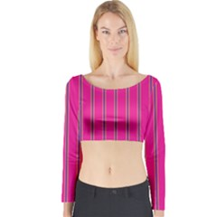 Pink Line Vertical Purple Yellow Fushia Long Sleeve Crop Top by Mariart