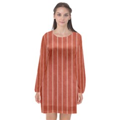Line Vertical Orange Long Sleeve Chiffon Shift Dress