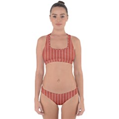 Line Vertical Orange Cross Back Hipster Bikini Set by Mariart