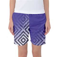 Plaid Blue White Women s Basketball Shorts by Mariart