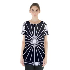 Ray White Black Line Space Skirt Hem Sports Top by Mariart