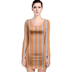 Rayures Bleu Orange Long Sleeve Bodycon Dress by Mariart