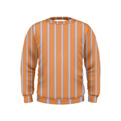 Rayures Bleu Orange Kids  Sweatshirt by Mariart