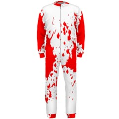 Red Blood Splatter Onepiece Jumpsuit (men)  by Mariart