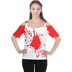 Red Blood Splatter Cutout Shoulder Tee