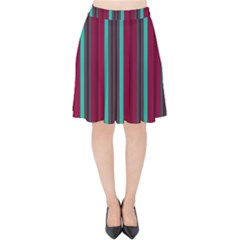 Red Blue Line Vertical Velvet High Waist Skirt by Mariart