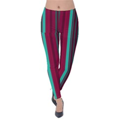 Red Blue Line Vertical Velvet Leggings