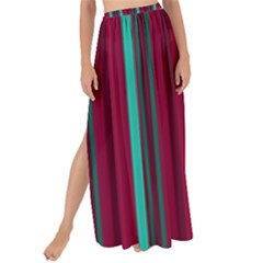 Red Blue Line Vertical Maxi Chiffon Tie Up Sarong