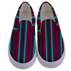 Red Blue Line Vertical Kids  Canvas Slip Ons