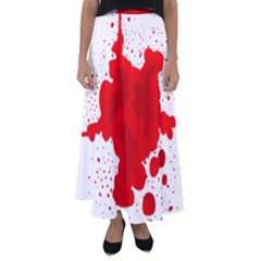 Red Blood Transparent Flared Maxi Skirt