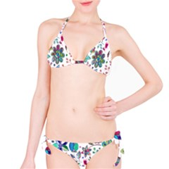 Prismatic Psychedelic Floral Heart Background Bikini Set