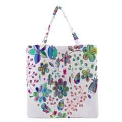 Prismatic Psychedelic Floral Heart Background Grocery Tote Bag
