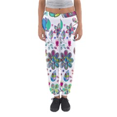 Prismatic Psychedelic Floral Heart Background Women s Jogger Sweatpants