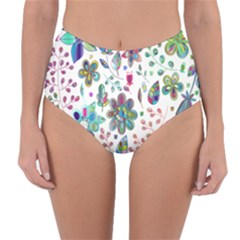 Prismatic Psychedelic Floral Heart Background Reversible High Waist Bikini Bottoms