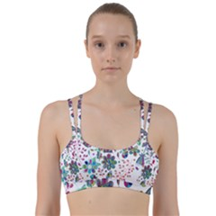 Prismatic Psychedelic Floral Heart Background Line Them Up Sports Bra