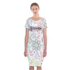 Prismatic Neon Floral Heart Love Valentine Flourish Rainbow Classic Short Sleeve Midi Dress by Mariart