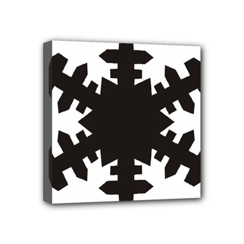 Snowflakes Black Mini Canvas 4  X 4  by Mariart