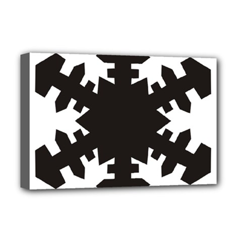 Snowflakes Black Deluxe Canvas 18  X 12   by Mariart