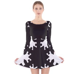 Snowflakes Black Long Sleeve Velvet Skater Dress by Mariart
