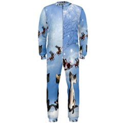 Christmas, Cute Cats Looking In The Sky To Santa Claus Onepiece Jumpsuit (men)  by FantasyWorld7
