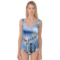 Christmas, Cute Cats Looking In The Sky To Santa Claus Princess Tank Leotard  by FantasyWorld7