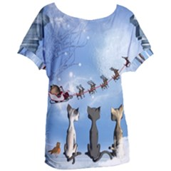 Christmas, Cute Cats Looking In The Sky To Santa Claus Women s Oversized Tee by FantasyWorld7