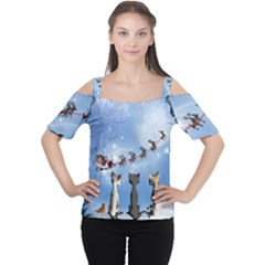 Christmas, Cute Cats Looking In The Sky To Santa Claus Cutout Shoulder Tee