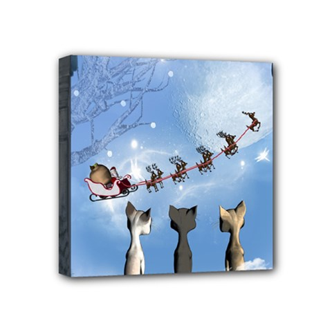 Christmas, Cute Cats Looking In The Sky To Santa Claus Mini Canvas 4  X 4  by FantasyWorld7