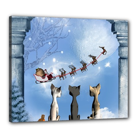 Christmas, Cute Cats Looking In The Sky To Santa Claus Canvas 24  X 20  by FantasyWorld7