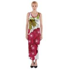 Red Fruit Grape Fitted Maxi Dress