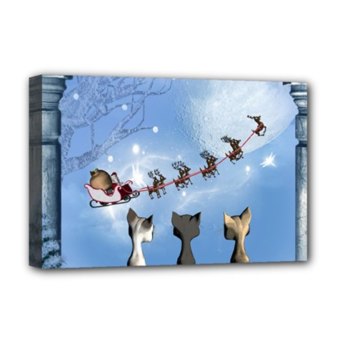 Christmas, Cute Cats Looking In The Sky To Santa Claus Deluxe Canvas 18  X 12   by FantasyWorld7
