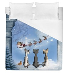 Christmas, Cute Cats Looking In The Sky To Santa Claus Duvet Cover (queen Size) by FantasyWorld7