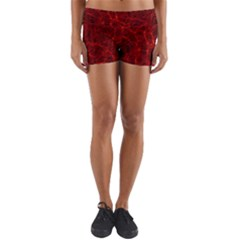 Simulation Red Water Waves Light Yoga Shorts by Mariart