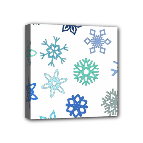 Snowflakes Blue Green Star Mini Canvas 4  X 4  by Mariart