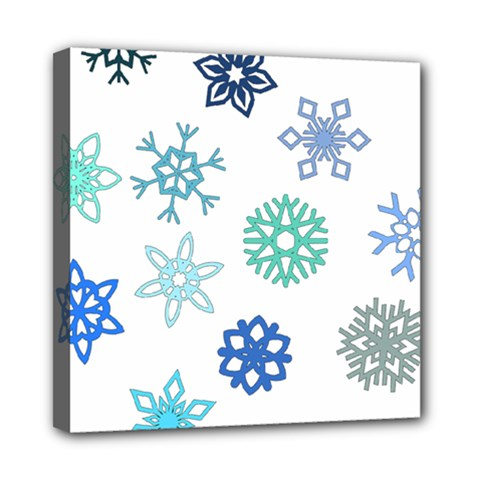 Snowflakes Blue Green Star Mini Canvas 8  X 8  by Mariart