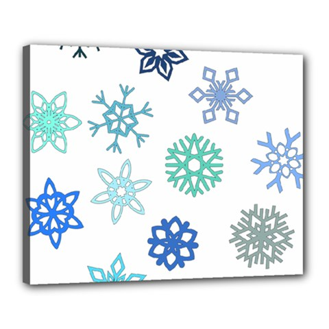 Snowflakes Blue Green Star Canvas 20  X 16  by Mariart