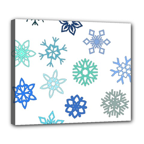 Snowflakes Blue Green Star Deluxe Canvas 24  X 20   by Mariart